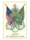 St. Patricks Day, US and Irish Flags Print