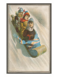 Three Children in Toboggan Art