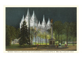 Night, Mormon Temple, Salt Lake City, Utah Art