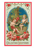 Valentine Greetings, Cupids Playing Music Print
