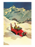 Truck in Snow with Skiers Posters