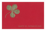 Gold Four-Leaf Clover on Red Reprodukcje