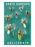 Surfers Paddling, Santa Barbara, California Prints