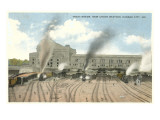 Trains Pulling out of Union Station, Kansas City, Missouri Prints