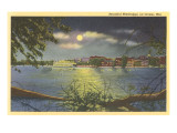 Moon over the Mississippi, La Crosse, Wisconsin Print
