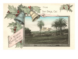 Christmas Greetings, Old Mission, San Diego, California Posters