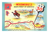 Map of Wyoming, Highway 30 Poster