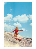 Girl Surfing, Santa Barbara, California Posters