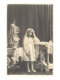Girl in First Communion Dress Posters
