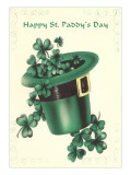Leprechaun's Hat with Four-Leaf Clovers Poster