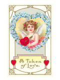 Token of Love, Girl Cupid with Heart and Arrow Prints