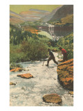 Crossing Mountain Stream Posters