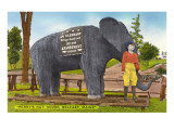 Cement Elephant Sculpture, Perry's Nut House Posters
