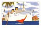 Ocean Liner with Sailboat Art