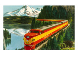 Train Through Rocky Mountains Kunstdruck