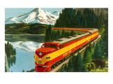 Train Through Rocky Mountains Poster