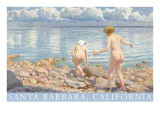 Naked Women on Rocky Shore, Santa Barbara, California Prints