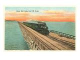 Locomotive Crossing Great Salt Lake Art