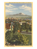 View of Mt. Rainier and Seattle, Washington Posters