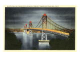 Night, San Francisco-Oakland Bay Bridge, San Francisco, California Posters