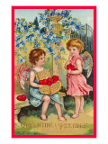 Valentine Greetings, Angels with Hearts Art