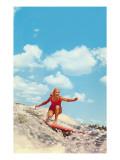 Mujer haciendo surf Póster