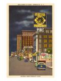 Night, Main Street, Greenville, South Carolina Prints
