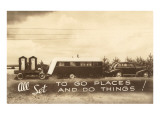 Vintage Travel Trailer with Outhouses Prints