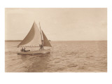 Small Gaff-Rigged Sailboat with Jib Posters