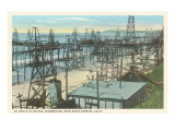 Oil Wells, Santa Barbara, California Poster