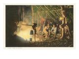 Campfire at Night Prints