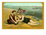 Bathers on Beach, San Diego, California Posters