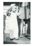 Snapshot of Little Boy on Porch with Sister Posters