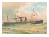 Steamship with Sails Art