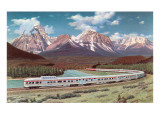 Train Passing through Rocky Mountains Prints