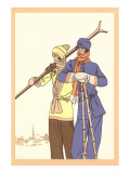Two Fashionable Skiers Posters