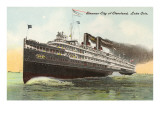 Steamer City of Cleveland, Lake Erie Print