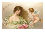 To My Valentine, Lady with Cupid Poster
