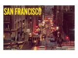 Powell Street at Night, San Francisco, California Prints
