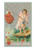 Valentine Greeting, Cupid Fishing Hearts Prints