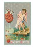 Valentine Greeting, Cupid Fishing Hearts ポスター