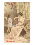 To My Valentine, Victorian Mother and Child as Cupid Print