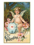 To My Valentine, Cupid with Heart Target Posters