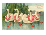 To My Sweet Valentine, Swans with Rose Leis Print
