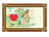 Cupid with Heart in Wagon and Poem Print