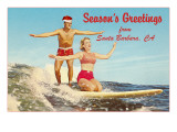 Christmas Surfing, Santa Barbara, California Posters