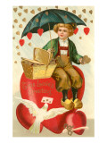 True Loves Greeting, Boy with Umbrella on Heart Prints