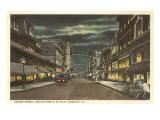 Nachts an der Granby Street, Norfolk, Virginia Poster