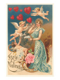 To My Valentine, Lady Blowing Heart Bubbles Prints