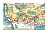 US Map Showing Harvey Hotels Prints